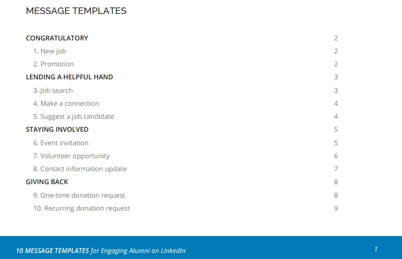 Table of Contents in the LinkedIn Message Templates